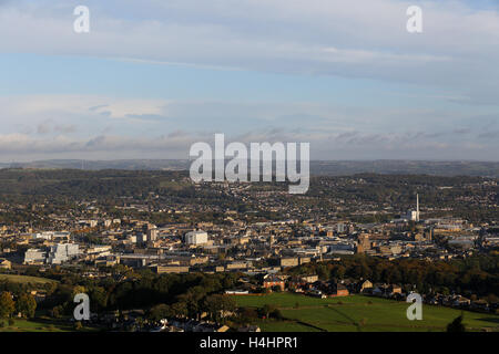 The view over Huddersfield town centre from atop Castle Hill in West Yorkshire. - Stock Photo