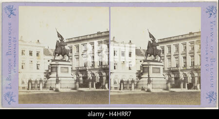 Brussels, The Statue of Godfrey of Bouillon by Simonis, on the Place Royale, Jules Queval, 1860-1880 - Stock Photo