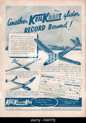 Vintage advert for Keil Kraft model gliders on the back cover of the Aeromodeller magazine dated July 1947 showing - Stock Photo