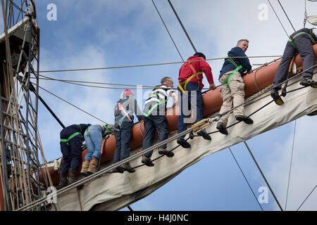 Tall Ships; Hoisting the Sails Regatta; Falmouth 2014 Cornwall; UK - Stock Photo