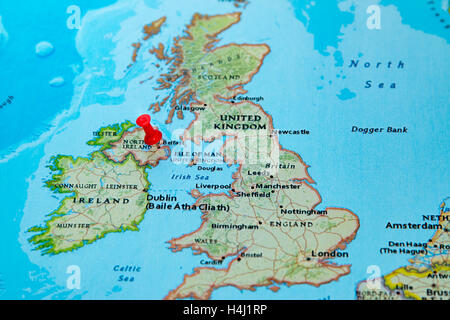 Belfast Northern Ireland city map Stock Photo Royalty Free Image