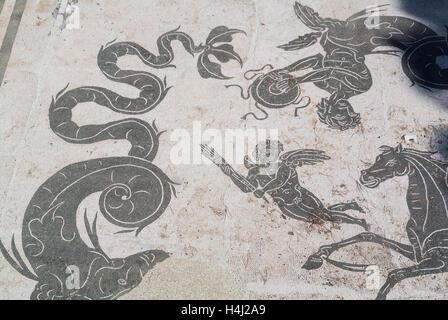 Mosaic Ostia Antica Rome Italy - Stock Photo