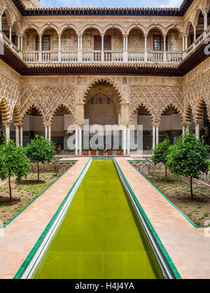 Spain, Andalusia, Province of Seville, Seville, Alcazar, Patio de las Doncellas, Courtyard of the Maidens - Stock Photo
