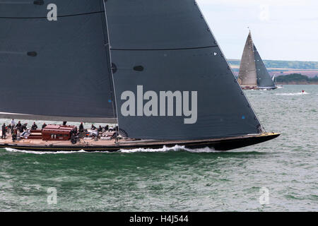 J-Class yacht 'Rainbow' (H2) maneouvring before the start of Race 2 of the J Class Solent Regatta, July 2012 - Stock Photo