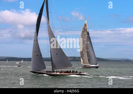 J-Class yachts 'Velsheda' (JK7) and 'Rainbow' (H2) manoeuvring before the start of a Solent race - Stock Photo