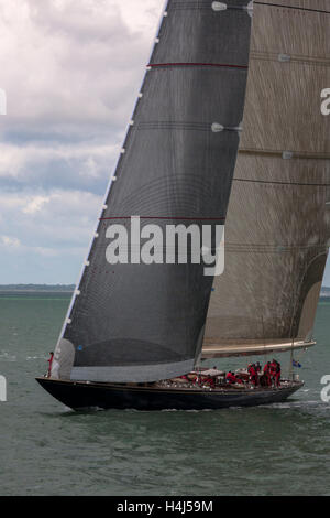 J-Class yacht 'Velsheda' (K7) maneouvring before the start of Race 2 of the J Class Solent Regatta, July 2012 - Stock Photo