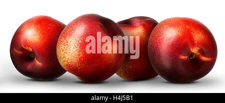 Group of nectarine peach isolated on white background. - Stock Photo