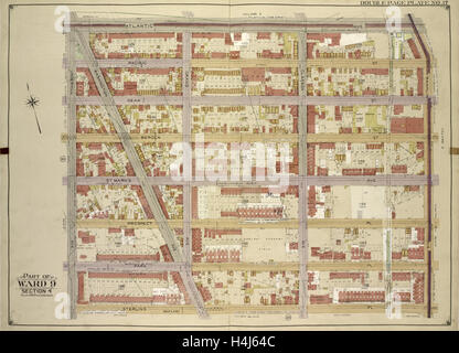 Brooklyn, Vol. 1, Double Page Plate No. 17; Part of Ward 9, Section 4; Map bounded by Atlantic Ave., Franklin Ave. - Stock Photo