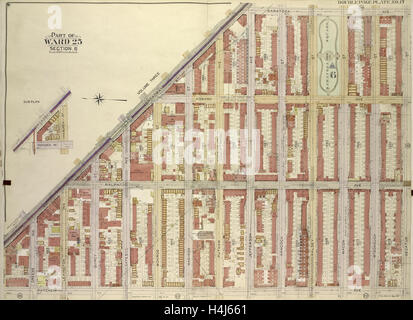 Brooklyn, Vol. 2, Double page Plate No. 17; Part of Ward 25, Section 6; Map bounded by Broadway, Saratoga Ave. - Stock Photo