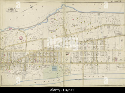 Manhattan, Double Page Plate No. 44 Map bounded by Hudson River, Harlem River, New York, USA - Stock Photo