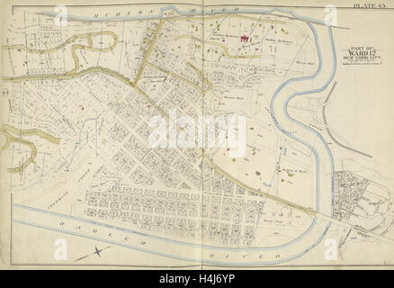 Manhattan, Double Page Plate No. 45 Map bounded by Hudson River, Harlem River, New York, USA - Stock Photo