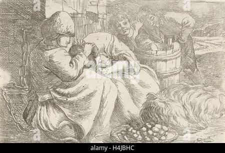 Old woman delouses a girl, Jan van Ossenbeeck, 1647 - 1674 - Stock Photo