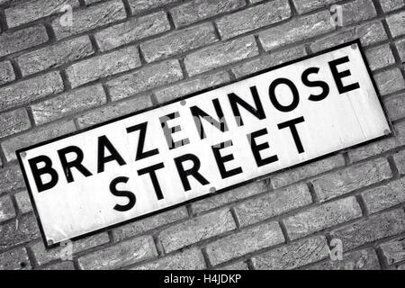 Brazennose Street Manchester City street names and signs, Greater Manchester, UK - Stock Photo