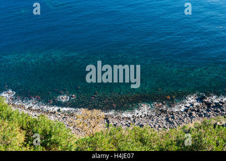 Aerial view of the coastline below the Timpa, near Catania (eastern Sicily) - Stock Photo