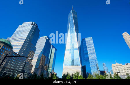 Horizontal image of World Trade Center with Freedom Tower in Lower Manhattan Financial District in New York City - Stock Photo
