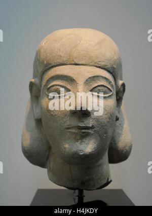 Male head with headgear or wig of Egyptian influence. Ca.550-520 BC. Limestone. Probably from Arsos, Cyprus. Museum - Stock Photo