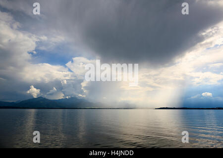 Storm over lake Chiem or Chiemsee. Upper Bavaria. Germany. - Stock Photo