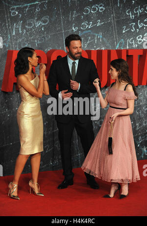 London, UK, UK. 17th Oct, 2016. Cynthia Addai-Robinson, Ben Affleck and Anna Kendrick attend the European Premiere - Stock Photo
