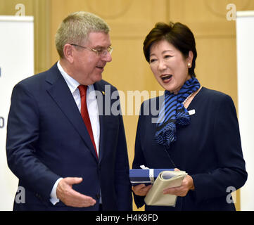 Tokyo, Japan. 18th Oct, 2016. Thomas Back, International Olympic Committee president, meets with Gov. Yuriko Koike - Stock Photo
