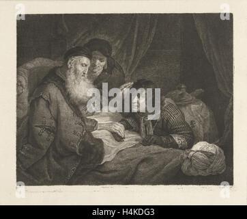 Isaac blesses Jacob, Johannes Pieter de Frey, Govert Flinck, 1798 - Stock Photo