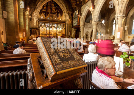 42 years after being stolen in 1971, a huge bible was anonymously returned last week to the rightful owners at Holy - Stock Photo