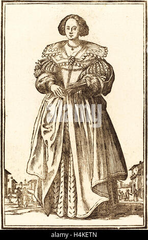 after Jacques Callot, Noble Woman with Fan, woodcut - Stock Photo