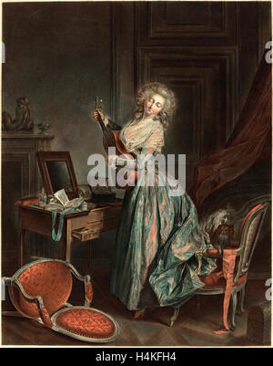 Jean-François Janinet after Nicolas Lavreince, French (1752-1814), A Woman Playing the Guitar, 1788-1789, etching - Stock Photo