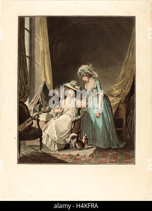 Jean-François Janinet after Nicolas Lavreince, French (1752-1814), L'aveu difficile (The Difficult Confession), - Stock Photo
