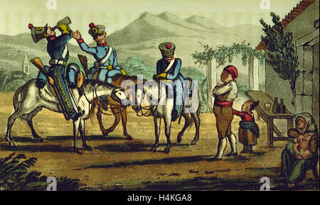 Portuguese Dragoons, Sketches of Portuguese life, manners, costume and character, 19th century engraving, Portugal - Stock Photo