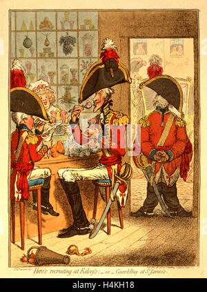 Hero's recruiting at Kelsey's or Guard Day at St. James's, Gillray, James, 1756-1815, engraver, London, engraving - Stock Photo