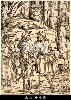 Hans Burgkmair I (German, 1473 - 1531), Pilgrims at a Wayside Shrine, 1508, woodcut in black on laid paper - Stock Photo