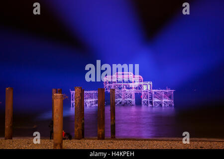 The West Pier Brighton illuminated for a one off night for 150 birthday - Stock Photo
