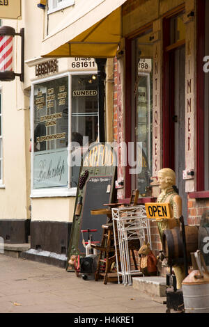 England, Berkshire, Hungerford, High Street, old and reproduction stock on pavement outside, Kimmers antiques centre - Stock Photo