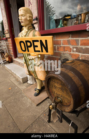 England, Berkshire, Hungerford, High Street, barrel and open sign on pavement outside, Kimmers antiques centre - Stock Photo