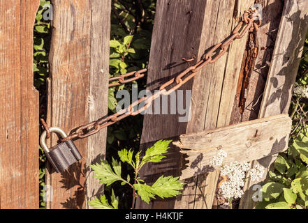 Lock and rusty chain on old wooden gate - Stock Photo