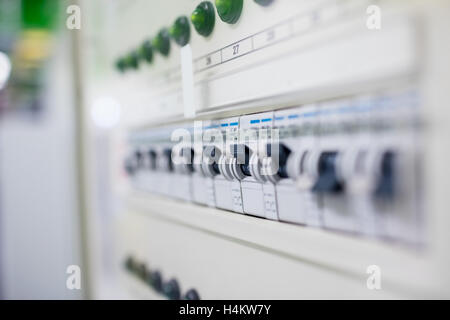 Close-up of switches on switch board - Stock Photo
