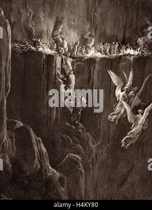 The Perilous Pass on the Eight Cornice of Purgatory, by Gustave Doré, 1832 - 1883, French. Engraving for the Purgatorio - Stock Photo
