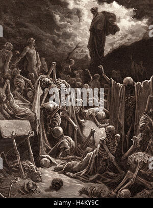 The Vision of the Valley of Dry Bones, Ezekiel by Gustave Doré, 1832 - 1883, French. 1870, Art, Artist, Romanticism, - Stock Photo
