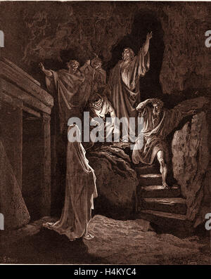 The Resurrection of Lazarus, by Gustave Dore, 1832 - 1883, French. Engraving for the Bible. 1870, Art, Artist, Holy - Stock Photo