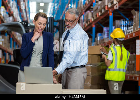 Portrait of warehouse manager and client interacting over laptop - Stock Photo