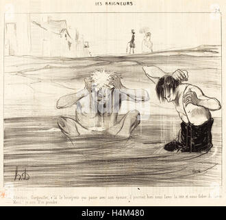 Honoré Daumier (French, 1808 - 1879), Attention, Gargouillet, v'la le bourgeois qui passe, 1842, lithograph on newsprint - Stock Photo