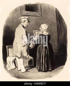 Honoré Daumier (French, 1808 - 1879), Tiens, ma femme, v'la mon portrait, 1846, lithograph - Stock Photo