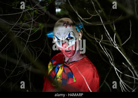 closeup of a scary evil clown in the woods, in the dark of night - Stock Photo