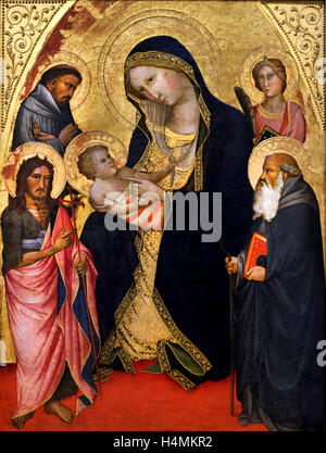Mary with the Child and the Saints John the Baptist, Francis, Antonius Abbas and a martyr by Angelo di Taddeo Gaddi - Stock Photo