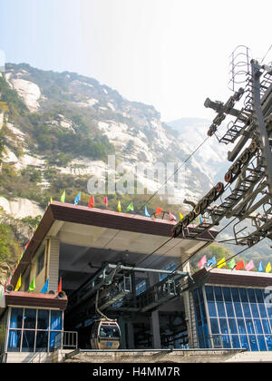 Cable Car station taking visitors to and from the summit of the sacred Mount Huashan, China, Asia - Stock Photo