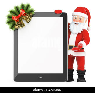 3d christmas people illustration. Santa Claus with blank screen tablet. Isolated white background. - Stock Photo