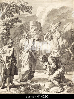 Louis Cheron (French, 1660 - 1725), Baptism of the Eunuch, etching - Stock Photo