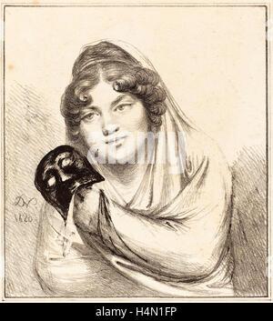 Baron Dominique Vivant Denon (French, 1747 - 1825), Girl with a Mask, 1820, lithograph - Stock Photo