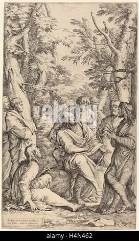 Salvator Rosa (Italian, 1615 - 1673), The Academy of Plato, etching - Stock Photo