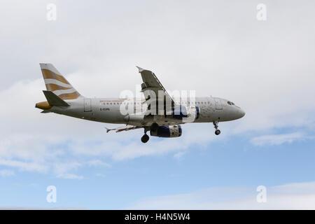 British Airways Airbus A319-131 landing at Leeds Bradford Airport - Stock Photo